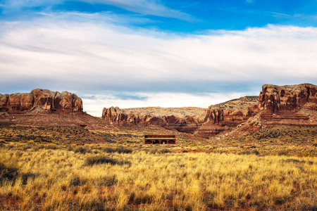 Old saloon in a typical southwestern landscape Stock Photo