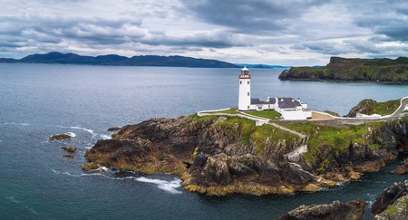 Aerial view of the Fanad Head Lighthouse in Ireland Stok Fotoğraf