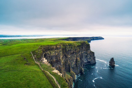 Aerial view of the scenic Cliffs of Moher in Ireland 免版税图像