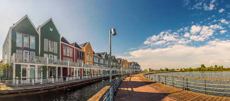 Panorama of famous Rainbow Houses in Houten, Netherlands