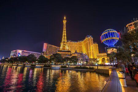 Paris Las Vegas Hotel and Casino at night Editorial