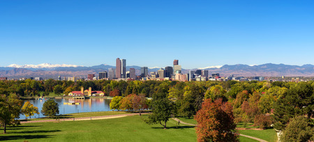 Skyline of Denver downtown with Rocky Mountains