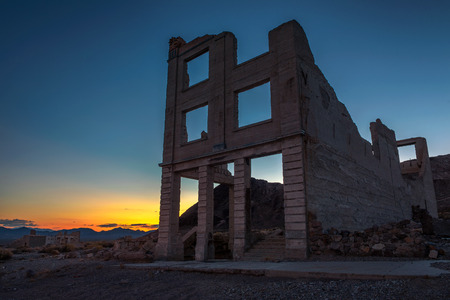 Sunset above abandoned building in Rhyolite, Nevada