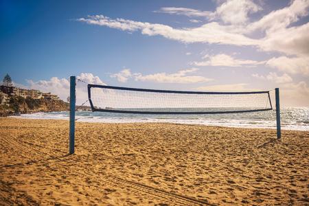 Beach volleyball net on the Corona del Mar State Beach near Los Angeles Stock Photo