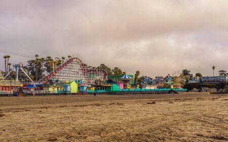 Santa Cruz Boardwalk amusement park viewed from the beach