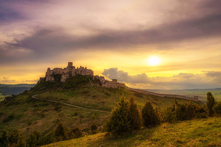 Sunset over the ruins of Spis Castle in Slovakia