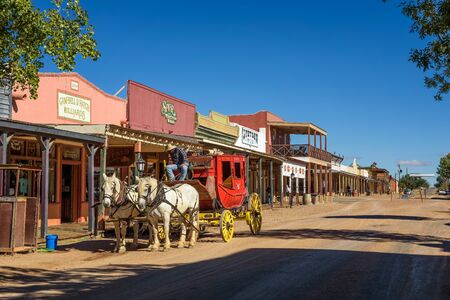 Historic Allen street with a stagecoach in Tombstone, Arizona 新聞圖片