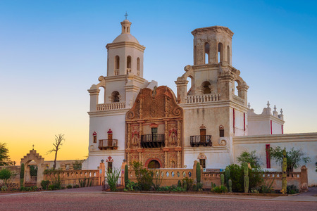 Sunrise at the San Xavier Mission Church in Tucson Banco de Imagens