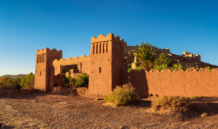Entry gate of Ait Benhaddou in Morocco at sunset Reklamní fotografie
