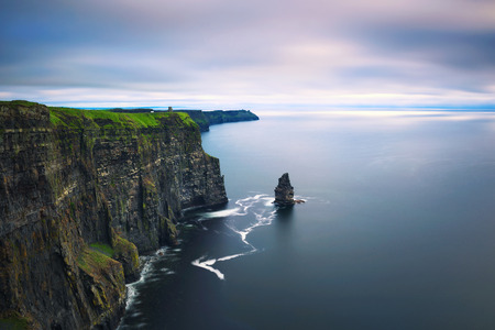 Panoramic view of the scenic Cliffs of Moher in Ireland