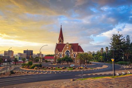 Dramatic sunset above Christchurch, Windhoek, Namibia Standard-Bild - 127115130