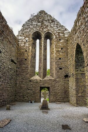 Corcomroe Abbey ruins and its cemetery in Ireland