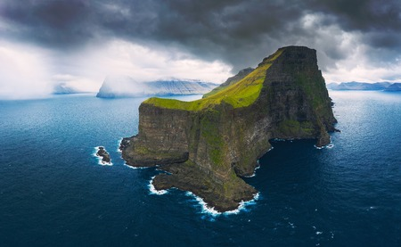 Aerial panorama of massive cliffs of Kalsoy on Faroe Islands Standard-Bild - 127115040