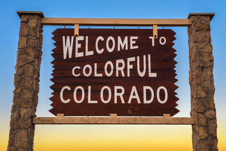 Welcome to colorful Colorado road sign