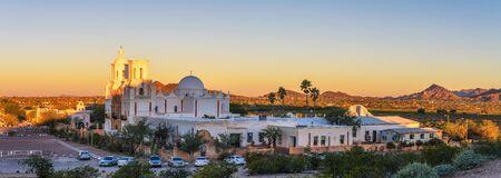 Panorama of San Xavier Mission Church in Tucson, Arizona, at sunrise Standard-Bild - 127114933