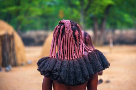 Traditional hairstyle of women in the Himba tribe photographed from behind