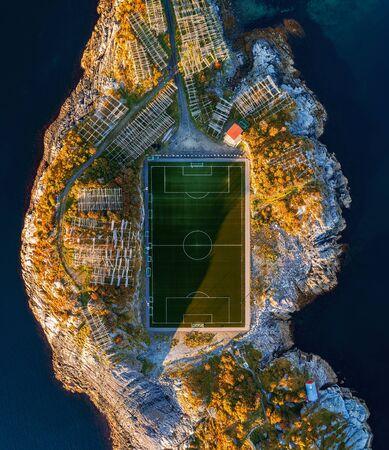 Football field in Henningsvaer from above Stok Fotoğraf