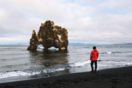 Tourist looks at the Hvitserkur basalt stack in northern Iceland Stok Fotoğraf