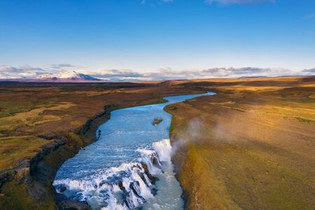 Aerial view of the Gullfoss waterfall and the Olfusa river in southwest Iceland Stockfoto - 131602435