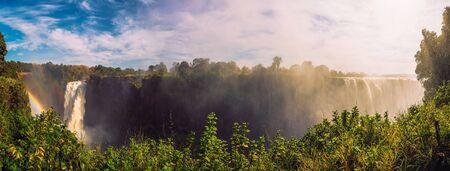 Panorama of Victoria Falls on Zambezi River in Zimbabwe