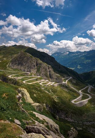 Aerial view of an old road going through the St. Gotthard pass in the Swiss Alps