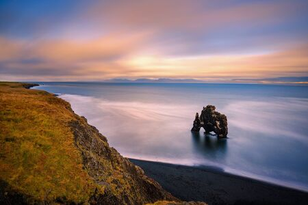 Sunset at the Hvitserkur basalt stack in northern Iceland
