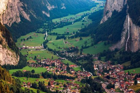 Lauterbrunnen valley in the Swiss Alps with an iconic waterfall
