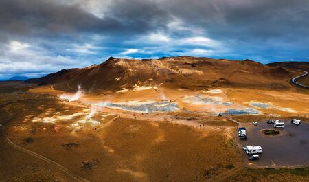 Aerial view of Hverir geothermal area near lake Myvatn in Iceland 스톡 콘텐츠