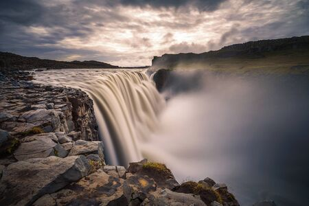 Dettifoss waterfall located on the Jokulsa a Fjollum river in Iceland 스톡 콘텐츠