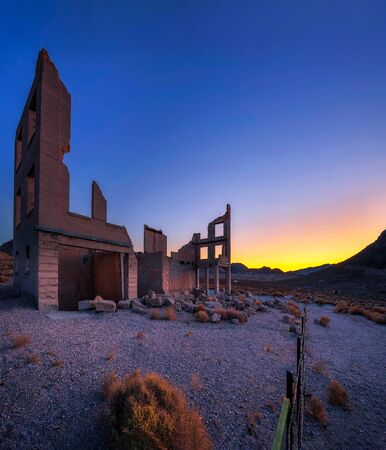 Sunrise above ruined building in Rhyolite, Nevada