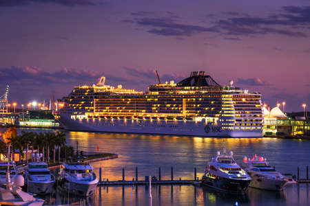 Luxury MSC Divina cruise ship in the Port of Miami at sunset 에디토리얼