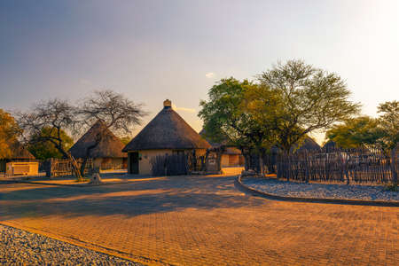 Okaukuejo resort and campsite in Etosha National Park at sunset 에디토리얼