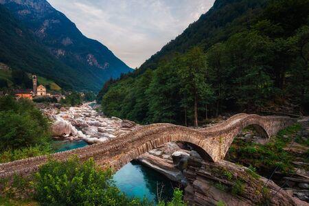 Historic bridge called Ponte dei Salti in the village of Lavertezzo, Switzerland