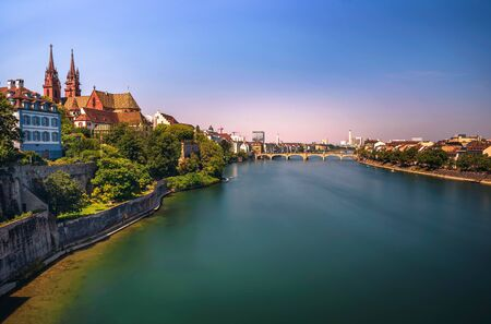 Old Town of Basel, Munster cathedral and the Rhine river in Switzerland 스톡 콘텐츠