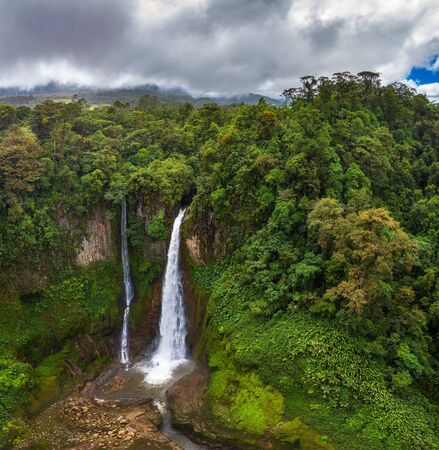 Aerial view of the Catarata del Toro waterfall in Costa Rica