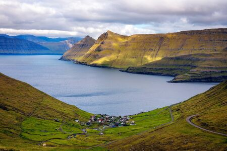 Panorama of mountains around village of Funningur on Faroe Islands