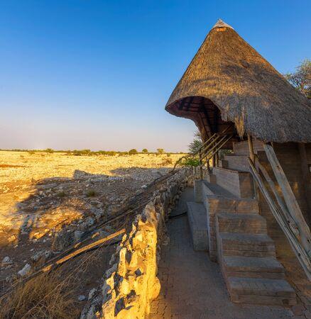 Shelter for watching wildlife in Etosha National Park, Namibia