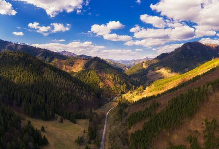 Aerial view of a valley in the Greater Fatra mountains in Slovakia 스톡 콘텐츠