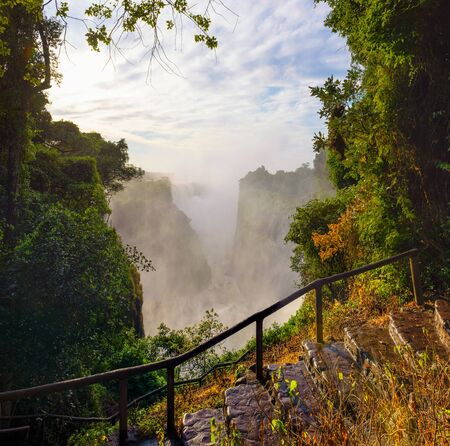 Staircase going to the Victoria Falls on Zambezi River in Zimbabwe 스톡 콘텐츠