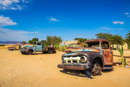 Abandoned car wrecks in Solitaire located in the Namib Desert of Namibia