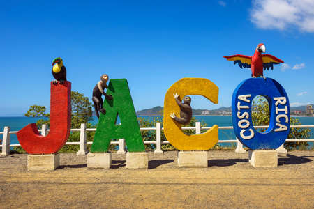 Colorful entry Sign for the city of Jaco in Costa Rica 스톡 콘텐츠