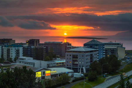 Sunset above the city of Reykjavik in Iceland 스톡 콘텐츠