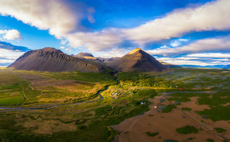 Aerial view of mountains above the village of Akranes in western Iceland