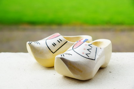 Two dutch traditional wooden clogs photo