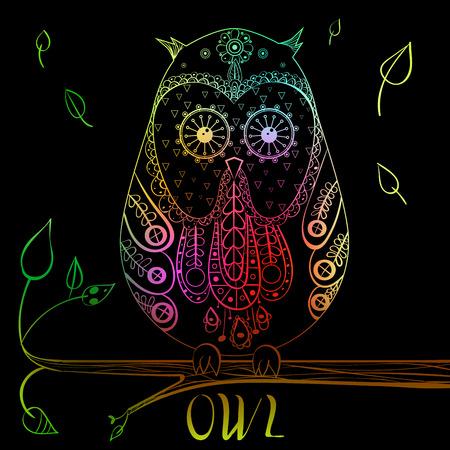 OWL zentangle handdrawn vector illustration doodle eps10