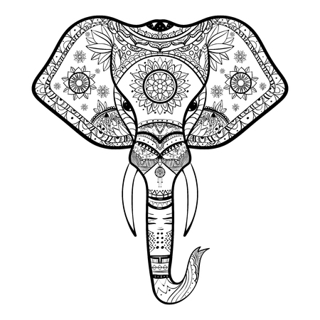 Vector Black and White Henna Elephant Head Illustration eps10