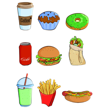 Fast food colorful icons collection. Vector cartoon flat style illustration isolated on white. eps10