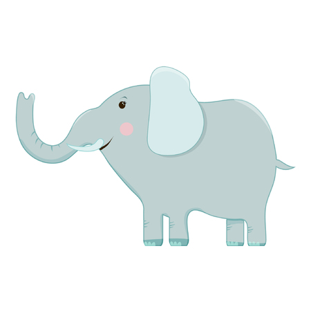 Vector set of cartoon images of funny gray elephants with different actions and emotions on a white background. Zoo. Vector illustration. Illustration