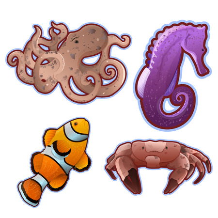 Under the sea - Set of detailed vector icons