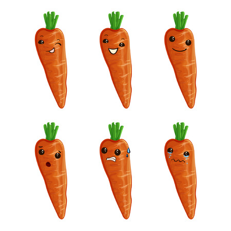 Cute carrot cartoon characters illustration. Carrot Mascot Vector set